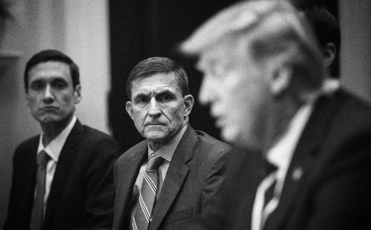 Image: National security adviser Michael Flynn listens to President Donald Trump in the Roosevelt Room of the White House on Jan. 31, 2017.