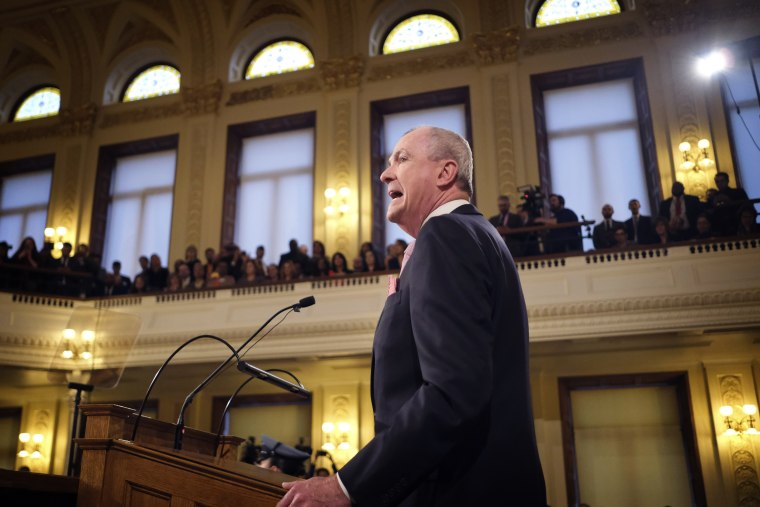 Image: New Jersey Gov. Phil Murphy speaks at the State of the State address in Trenton on Jan. 14, 2020.
