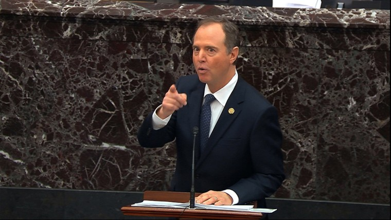 Image: House impeachment manager Rep. Adam Schiff, D-Calif., speaks during the impeachment trial against President Donald Trump in the Senate at the U.S. Capito