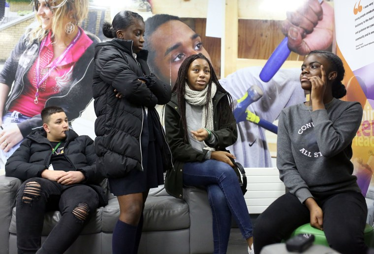Image: Students and members of the black community in east London voice their opinions in a discussion on the recent departure of Harry Windsor and Meghan Markle from Royal duties