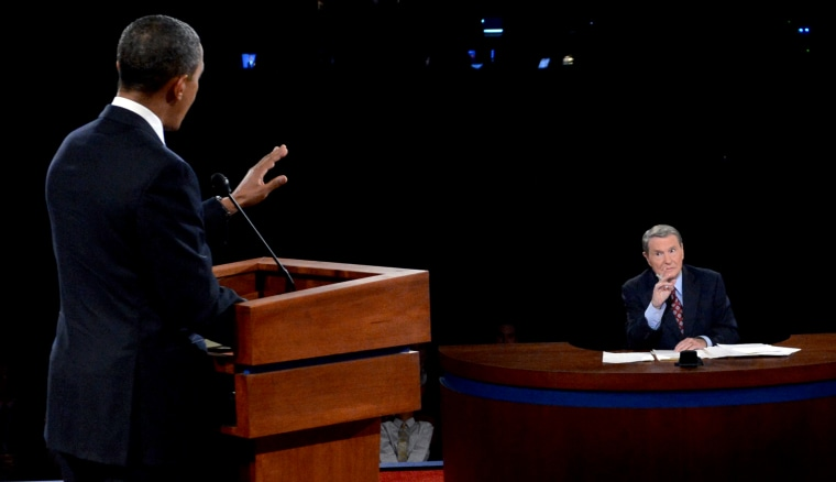 Image: President Barack Obama answers a question from debate moderate Jim Lehrer during a presidential debate at the University of Denver on Oct. 3, 2012.