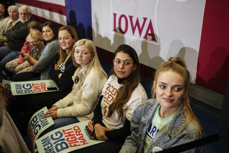 Image: Supporters attend a Sen. Elizabeth Warren, D-Mass., presidential campaign event in Marshalltown, Iowa, on Jan. 12, 2020.