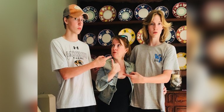 Jennifer Folsom with her 17-year-old twins , Josh and Will, trying to decide who will pick up little brother Anderson from the bus stop