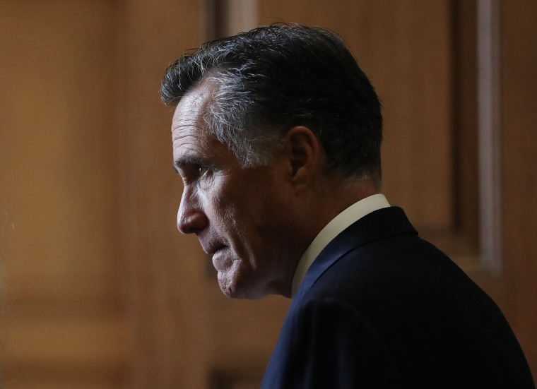 Image: Sen. Mitt Romney, R- Utah, at the Capitol on Jan. 24, 2020.