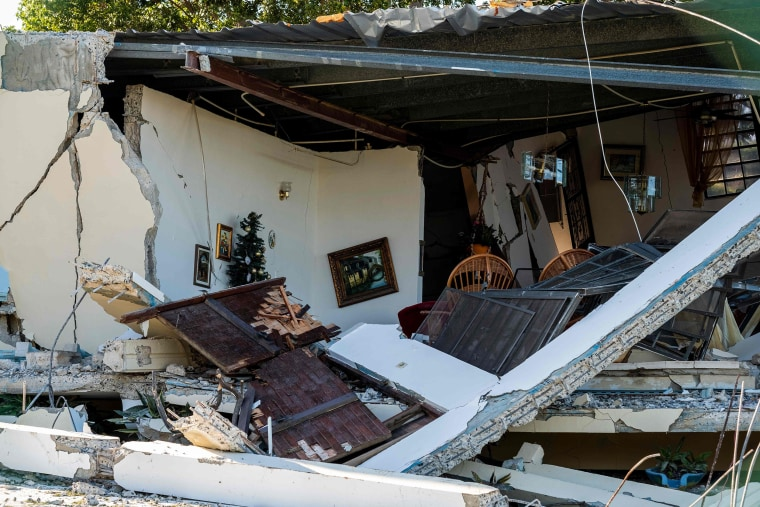 Image: An earthquake-damaged house in Guanica.