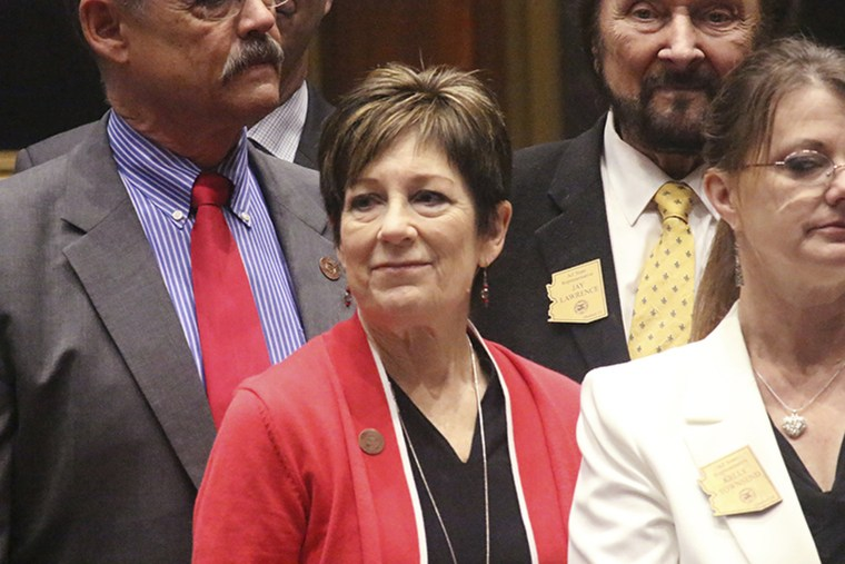 Arizona state Rep. Nancy Barto, middle, stands with other lawmakers in the State House on May 21, 2019.