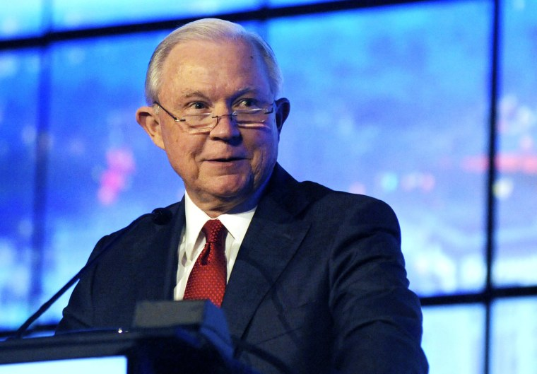 Former U.S. Attorney General Jeff Sessions addresses a business group in Montgomery, Ala., on Dec. 11, 2018.