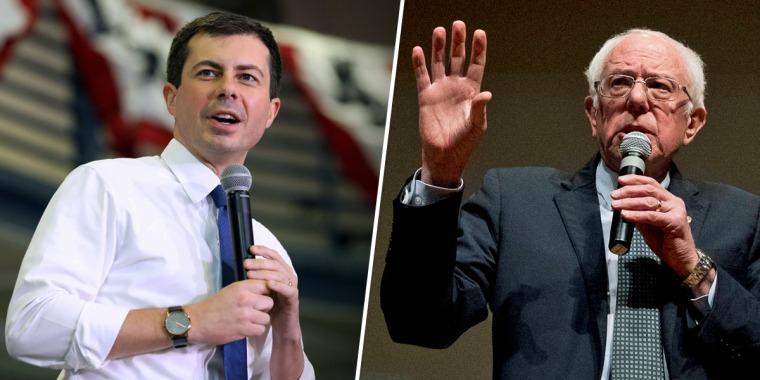 Democratic presidential candidates Pete Buttigieg, left, and Sen. Bernie Sanders.