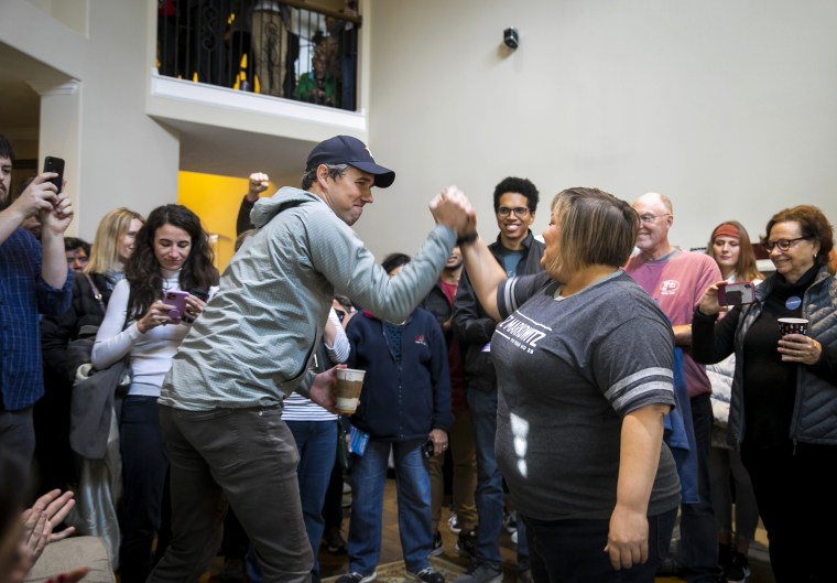 Image: Beto O'Rourke campaigns with Texas State Representative candidate Dr. Eliz Markowitz in Katy on Jan. 11, 2020.