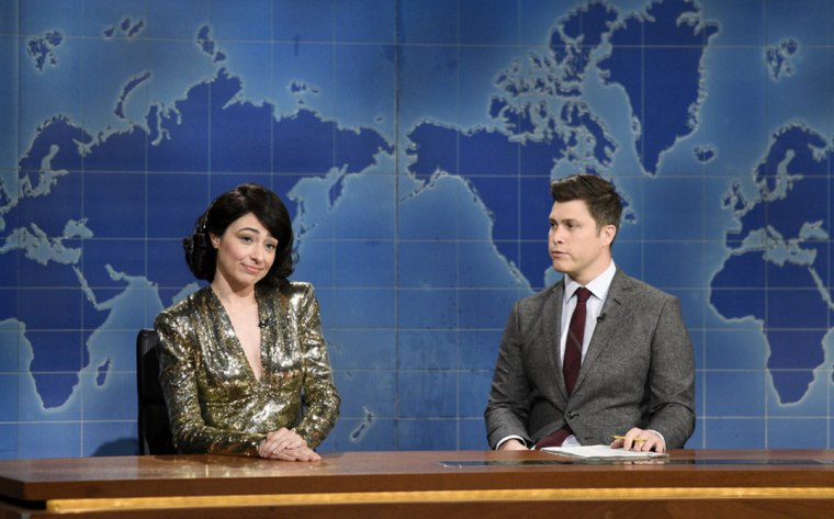 """Image: Melissa Villasenor and Colin Jost appear on Saturday Night Live's \""""Weekend Update\"""" on Jan. 25, 2020."""