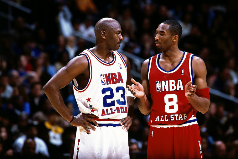 Image: Kobe Bryant talks with Michael Jordan during the 2003 NBA All-Star Game in Atlanta.
