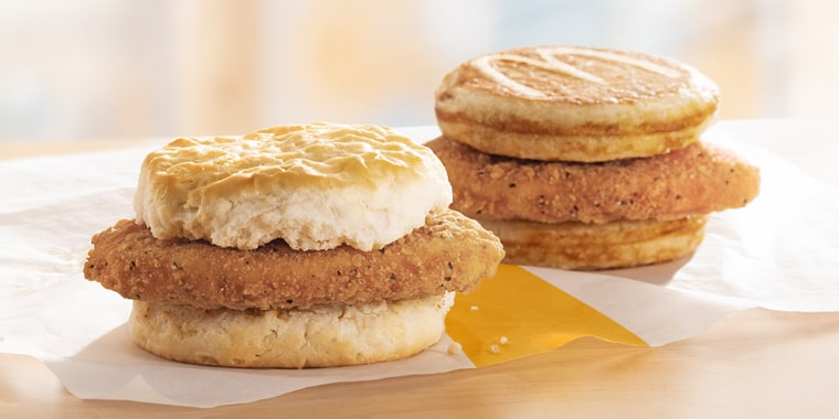 McDonald's is bringing its Chicken McGriddles and McChicken Biscuit breakfast sandwiches to restaurants nationwide.
