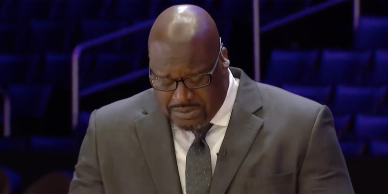 Shaquille O'Neal broke down during a memorial show for his late friend and former teammate, Kobe Bryant.