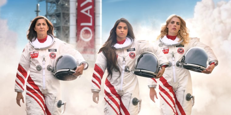 From left to right: Retired astronaut Nicole Stott, actresses Lilly Singh, and Busy Phillips are starting in an Olay commercial that will air during the Super Bowl on Sunday.
