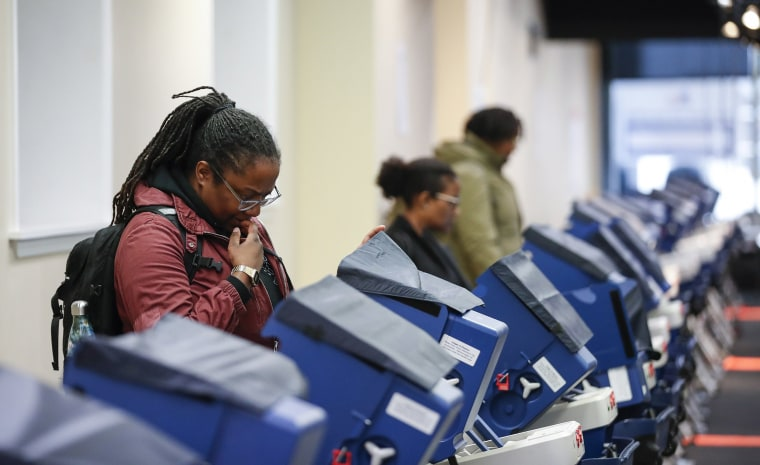Image: Voters cast their ballots at the polling place in downtown Chicago, Illinois