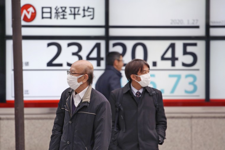 People wearing masks walk by the electronic stock board of a securities firm in Tokyo on Jan. 27, 2020.