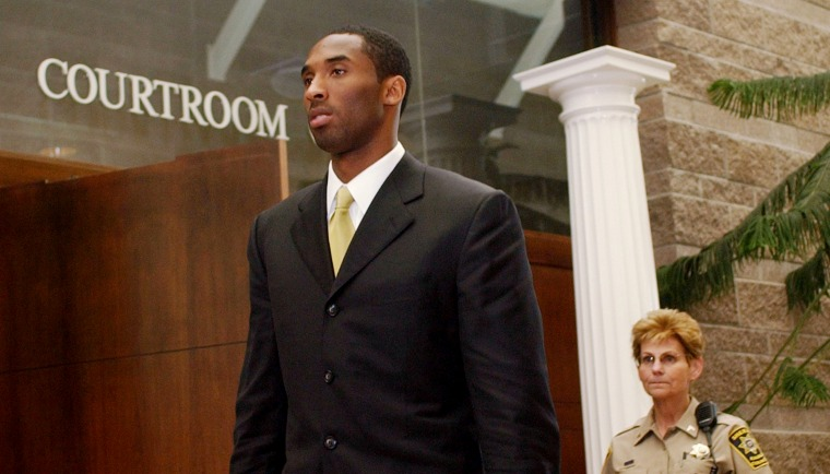Image: Kobe Bryant leaves a court hearing on sexual assault charges in Eagle, Colo., on April 27, 2004.