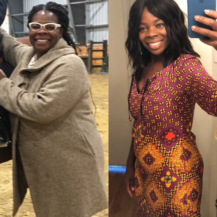 Martine Etienne-Mesubi before, left, and after losing 80 pounds.