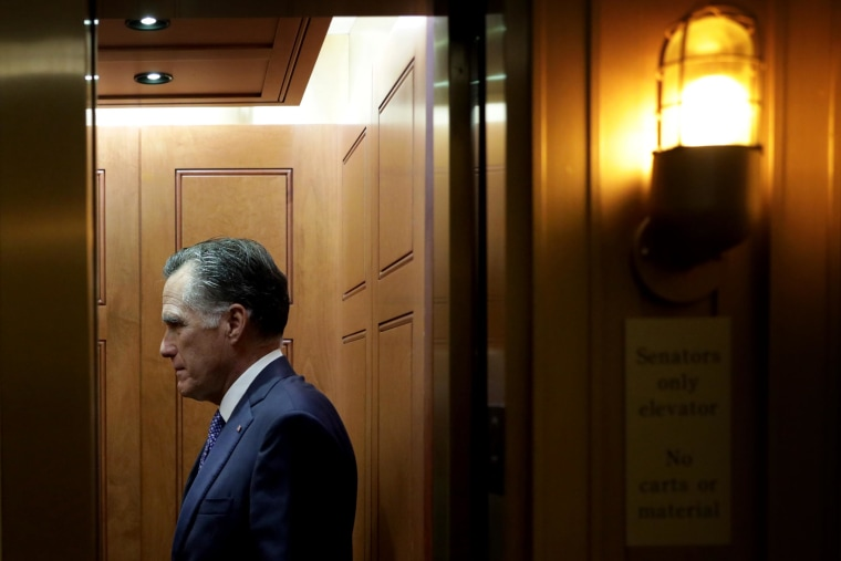 Image: Sen. Mitt Romney, R-Utah, leaves after a vote at the Capitol on Dec. 2, 2019.