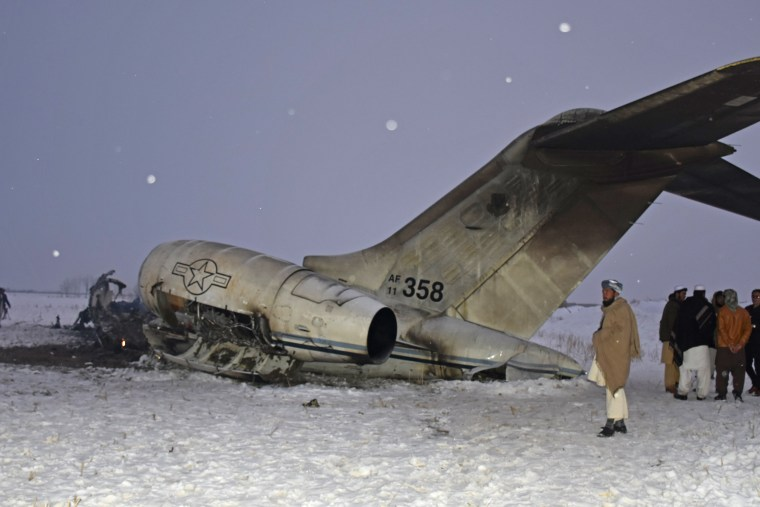 The wreckage of a U.S. military aircraft that crashed in Ghazni province, Afghanistan, on Jan. 27, 2020.