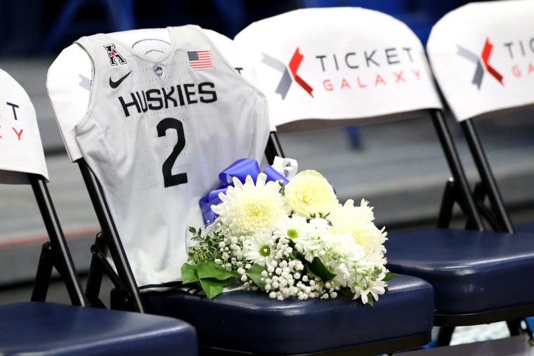 Image: A UConn jersey in memory of Gianna Bryant during a game against the United States and UConn Huskies in Hartford, Conn., on Jan. 27, 2020.