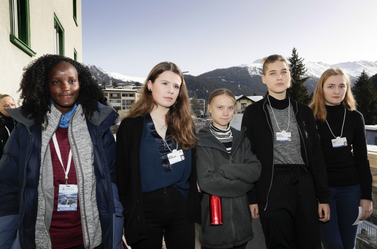 Image: Climate activists Vanessa Nakate, Luisa Neubauer, Greta Thunberg, Isabelle Axelsson and Loukina Tille arrive for a news conference in Davos, Switzerland, on Jan. 24, 2020.