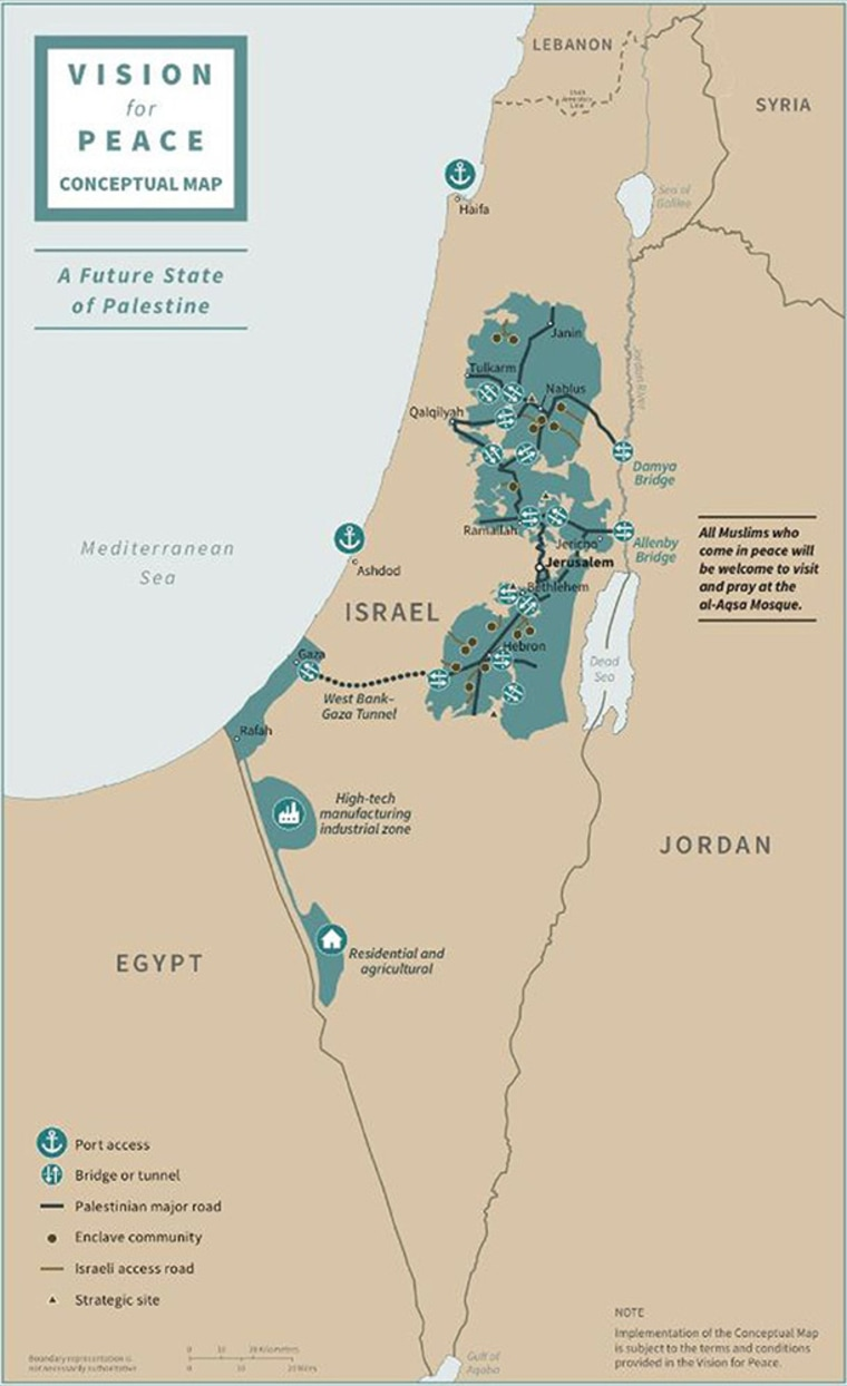 Image: A map depicts the proposed future states of Israel and Palestine.