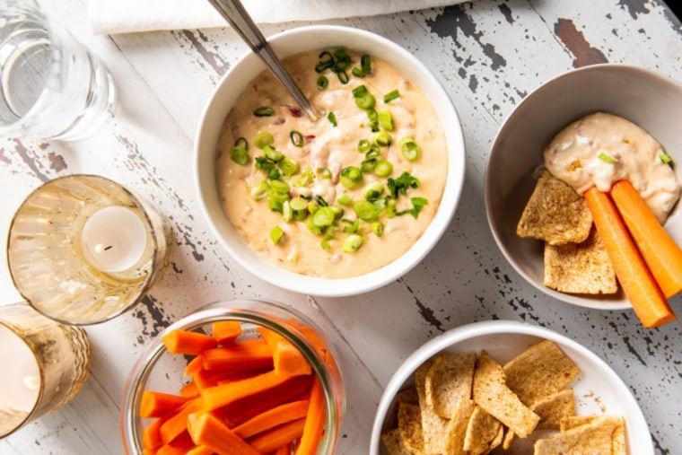 The beauty of a hot dip is that they can be made in vegetarian form, or be studded with deliciousness like chorizo or crab.