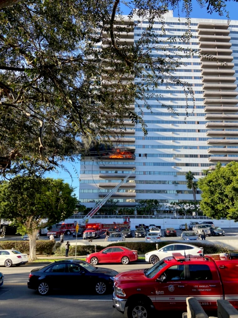 Image: Emergency responders at the scene of a fire in a Los Angeles high-rise building on Jan. 29, 2020.
