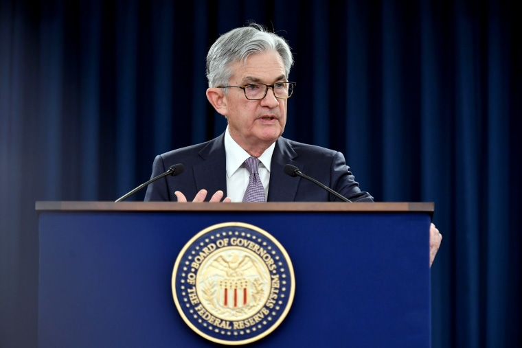 Image: Federal Reserve Chairman Jerome Powell speaks at a press conference on Jan. 29, 2020.