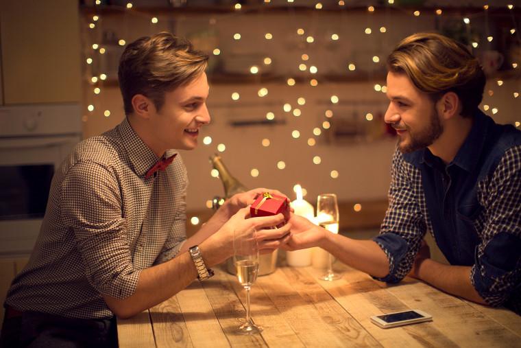Loving gay couple celebrating Valentine's day.