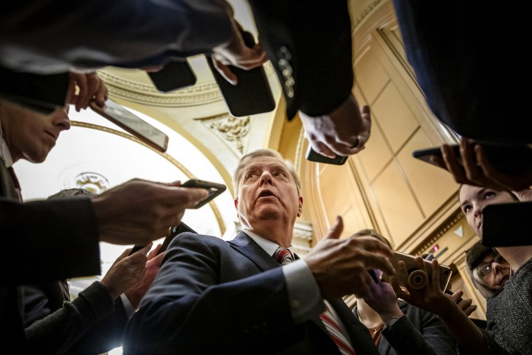 Image: Sen. Lindsey Graham, R-S.C., speaks to reporters at the Capitol on Jan. 29, 2020.