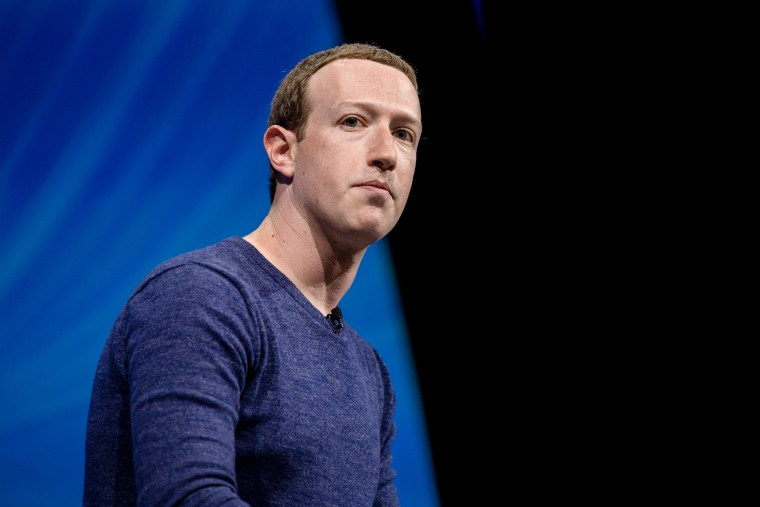 Image: Mark Zuckerberg, head of Facebook Inc., at a technology conference in Paris on May 24, 2018.
