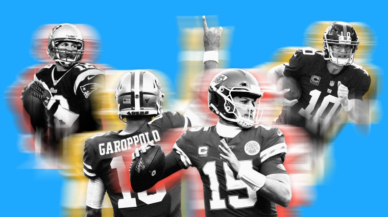 Image; The old guard quarterbacks, like Tom Brady and Eli Manning, are passing the baton to a new class of players like Jimmy Garoppolo and Patrick Mahomes.