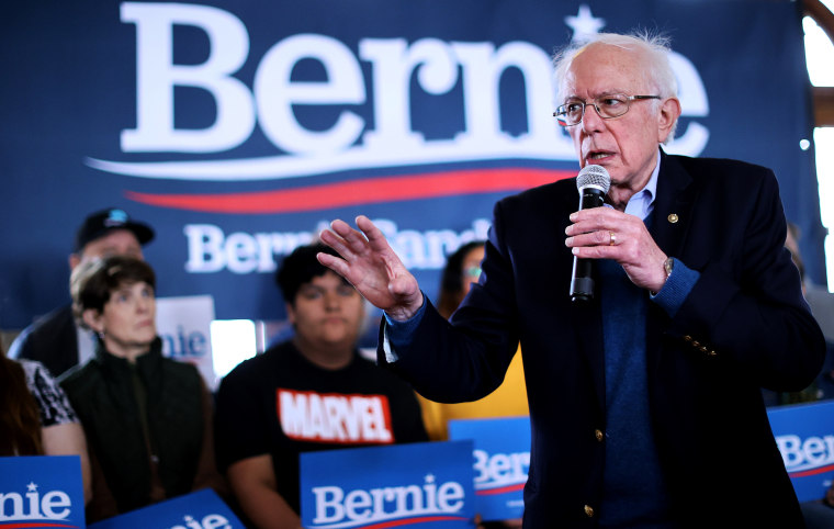 Image: Sen. Bernie Sanders, I-VT, speaks at a presidential campaign event in Perry, Iowa, on Jan. 26, 2020.