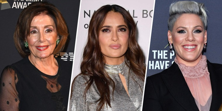 Speaker of the House Nancy Pelosi, Actress Salma Hayek, and singer Pink.