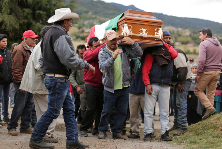 Relatives and friends carry the coffin of environmental activist Homero Gomez during his funeral in Mexico's Michoacan state on Jan. 30, 2020.