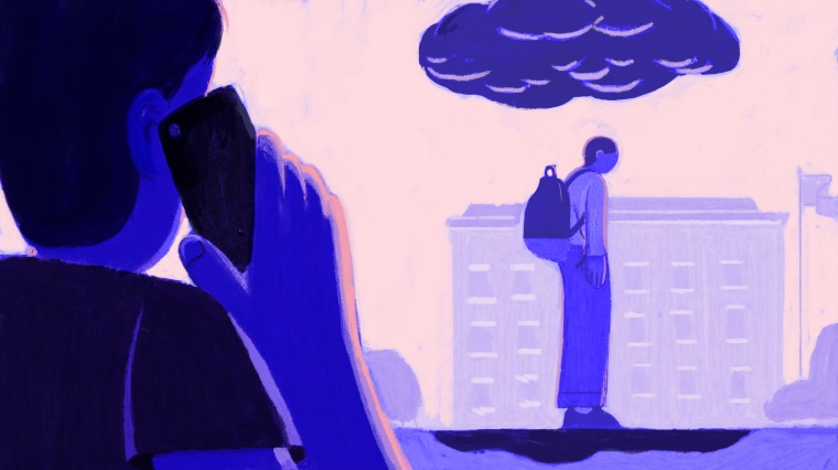 Illustration of student calling a hotline while another student with a raincloud hovering above stands in the distance.