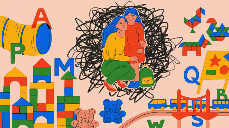 Illustration of woman holding daughter in a preschool.