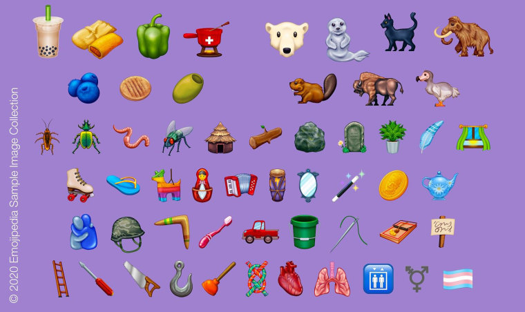 Original images from Emojipedia showing how the new emojis may look.