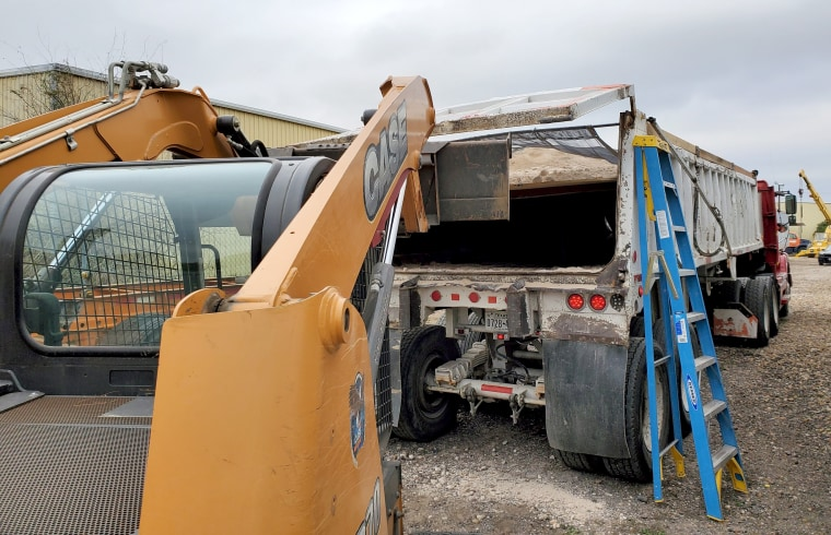 Police in Laredo, Texas, found 36 people concealed in a hidden compartment inside a disabled dump truck Thursday.