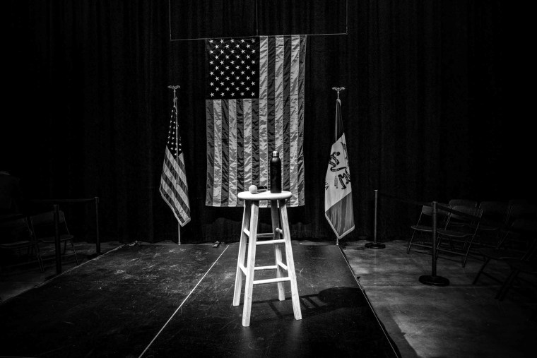 Image: The stage at a Joe Biden campaign rally in Council Bluffs, Iowa, on Jan. 29, 2020.