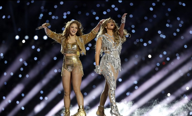 Image: Shakira and Jennifer Lopez perform during the Super Bowl halftime show on Feb. 2, 2020.