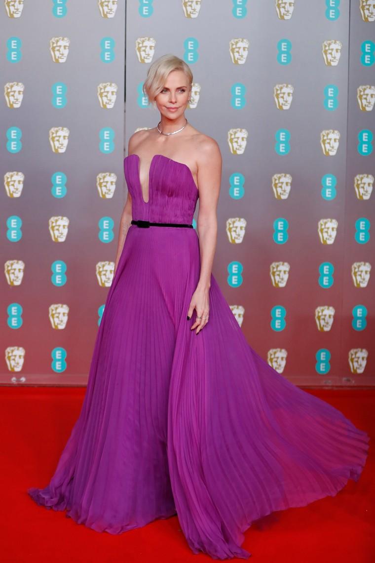 Charlize Theron BAFTAs red carpet