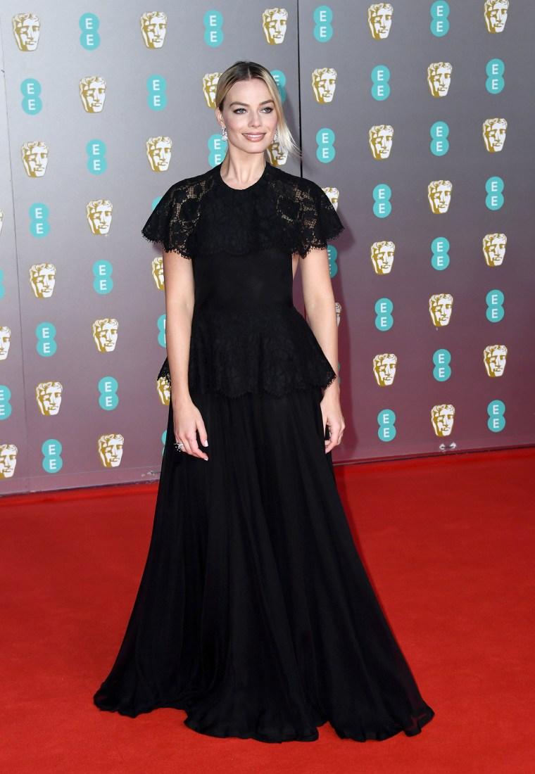 Margot Robbie BAFTAs red carpet