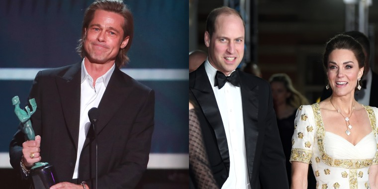 Brad Pitt, seen here at last month's SAG Awards, couldn't attend the BAFTAs Sunday night, but he still unveiled some royal-related humor for Prince William and the former Kate Middleton.