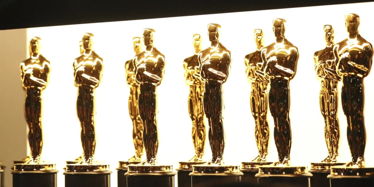 Oscar statuettes are seen backstage at the Oscars on Feb. 26, 2017, at the Dolby Theatre in Los Angeles.