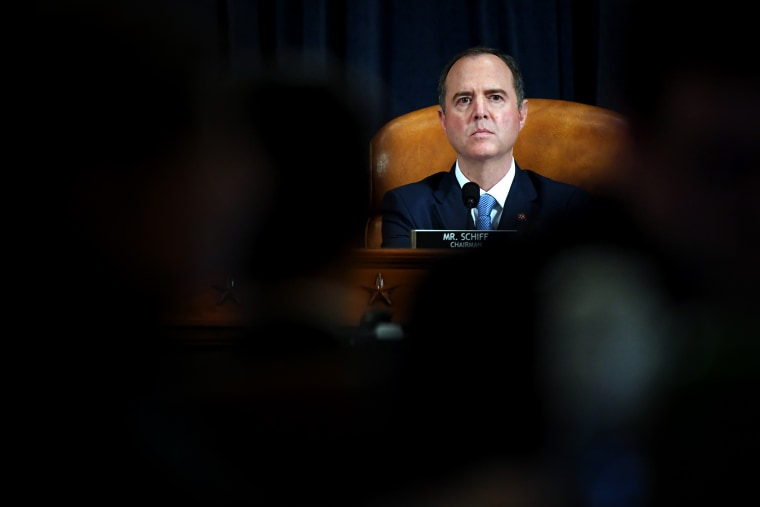 Image: Rep. Adam Schiff, D-Calif., listens during a House Intelligence Committee impeachment inquiry hearing on Nov. 21, 2019.