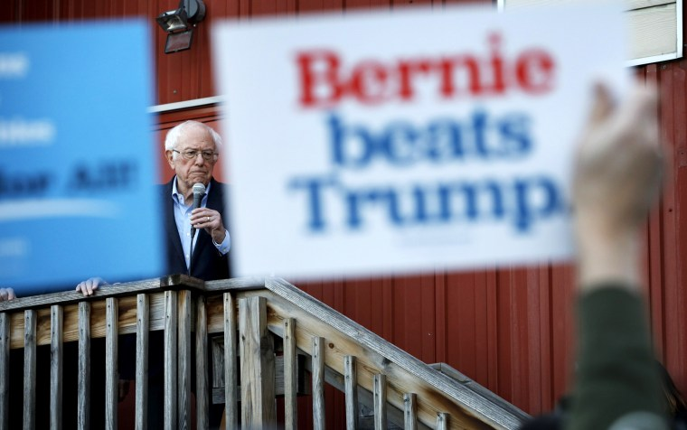 Image: Sen. Bernie Sanders, I-Vt., speaks at a campaign event in Des Moines, Iowa, on Feb. 2, 2020.