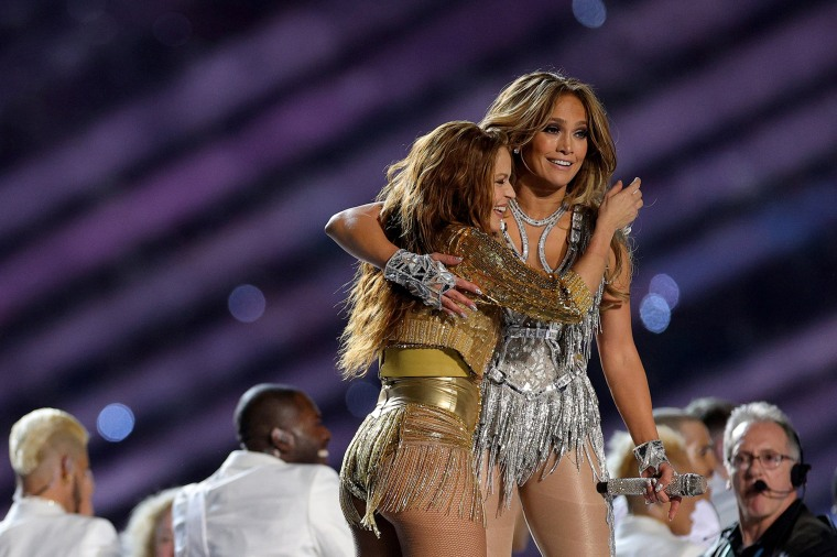 Singers Shakira and Jennifer Lopez perform during the Super Bowl halftime show on Feb. 2, 2020 in Miami.
